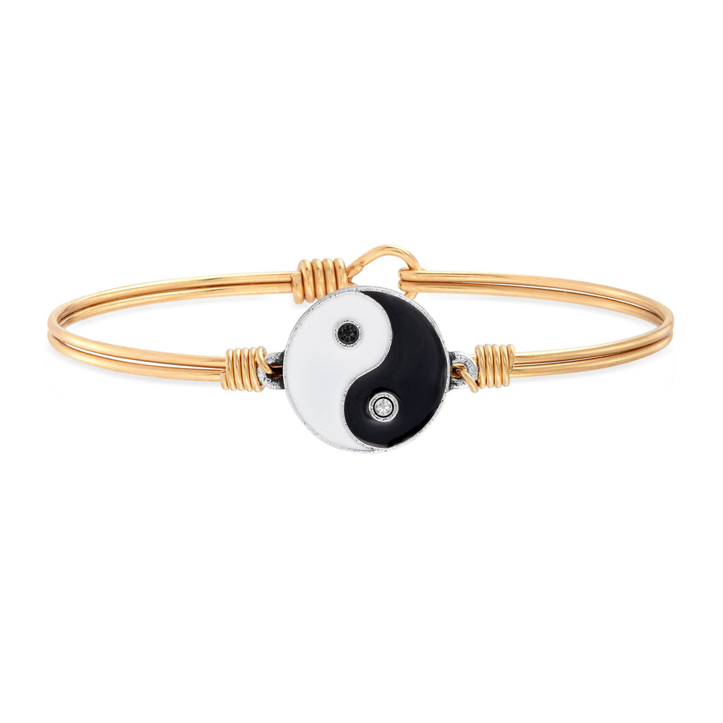 Yin Yang Bangle Bracelet choose finish:Brass Tone