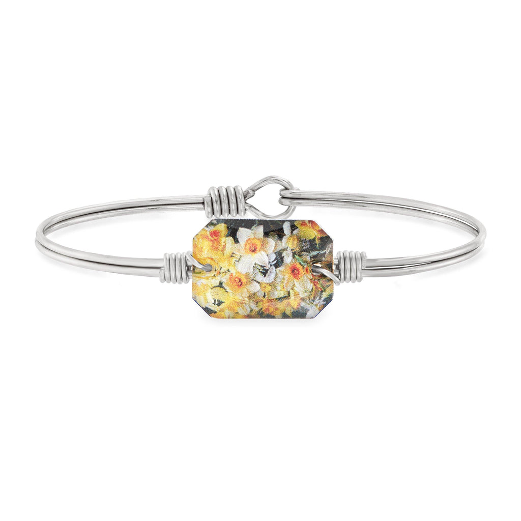 Daffodils Bangle Bracelet choose finish:Silver Tone