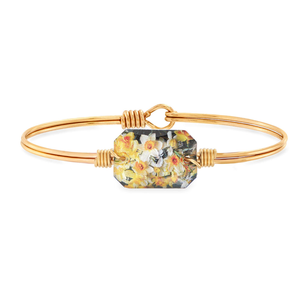 Daffodils Bangle Bracelet choose finish:Brass Tone