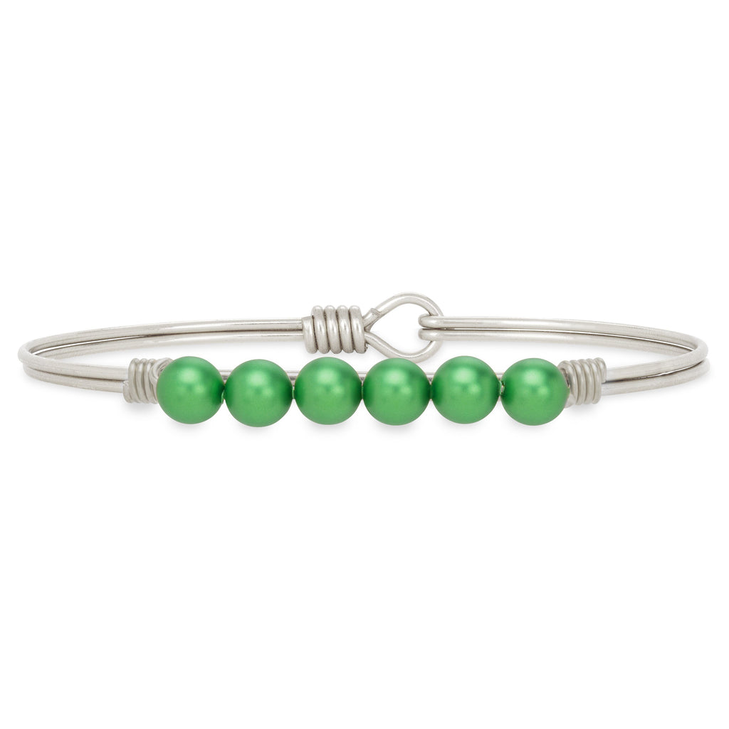 Crystal Pearl Bangle Bracelet in Emerald choose finish:Silver Tone