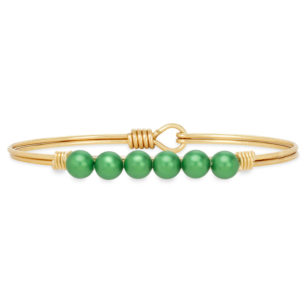 Crystal Pearl Bangle Bracelet in Shamrock choose finish:Brass Tone