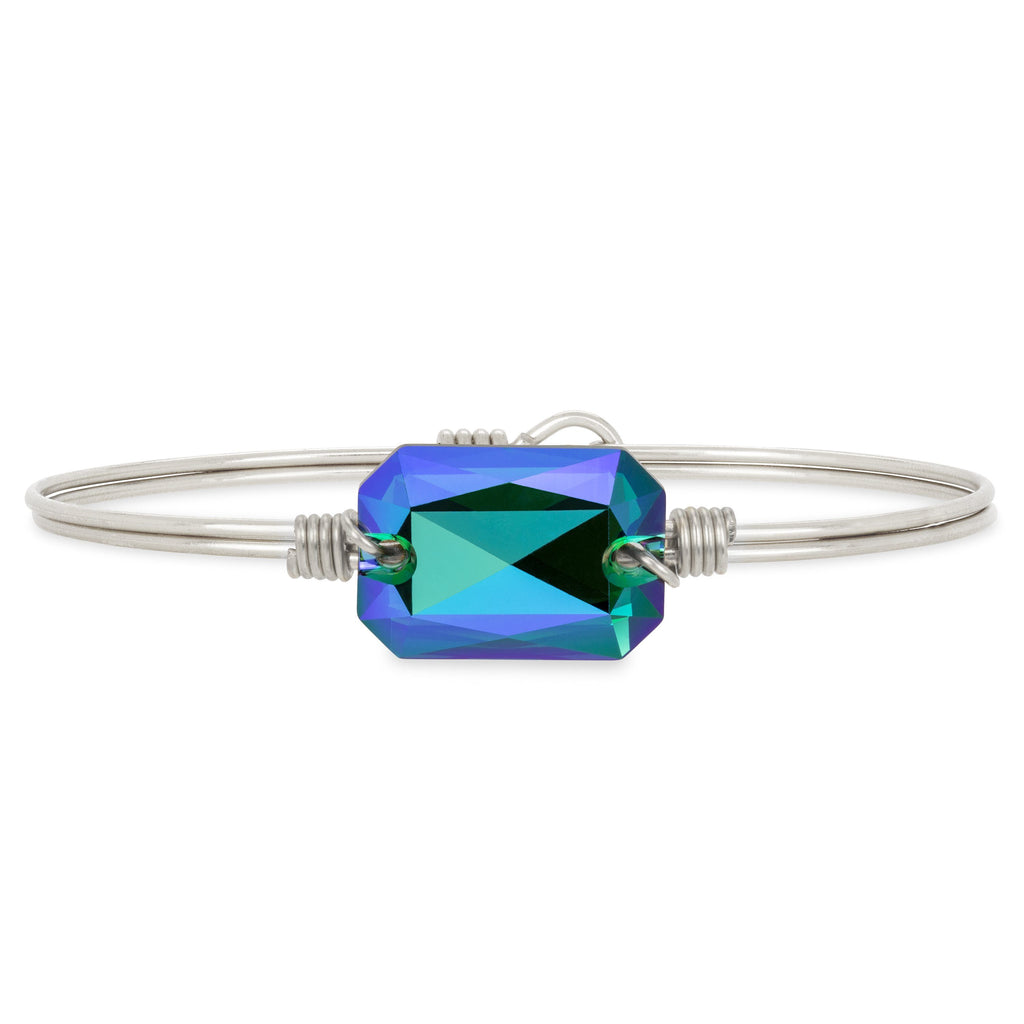 Dylan Bangle Bracelet in Verde choose finish:Silver Tone