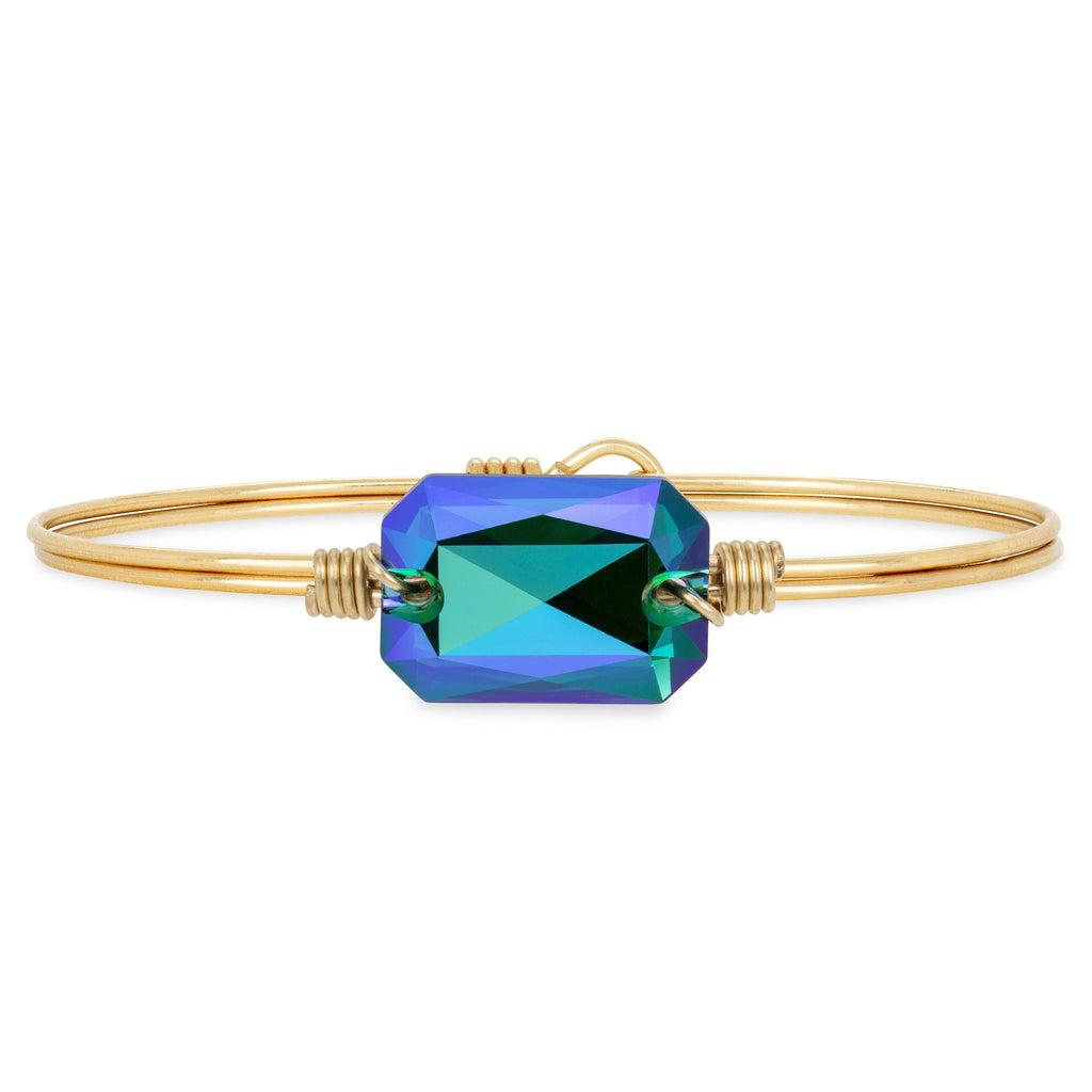 Dylan Bangle Bracelet in Verde choose finish:Brass Tone