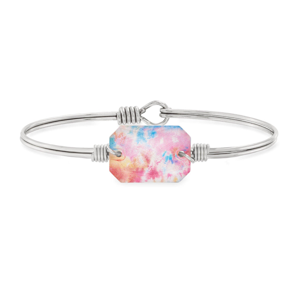 Dylan Bangle Bracelet in Tie Dye choose finish:Silver Tone