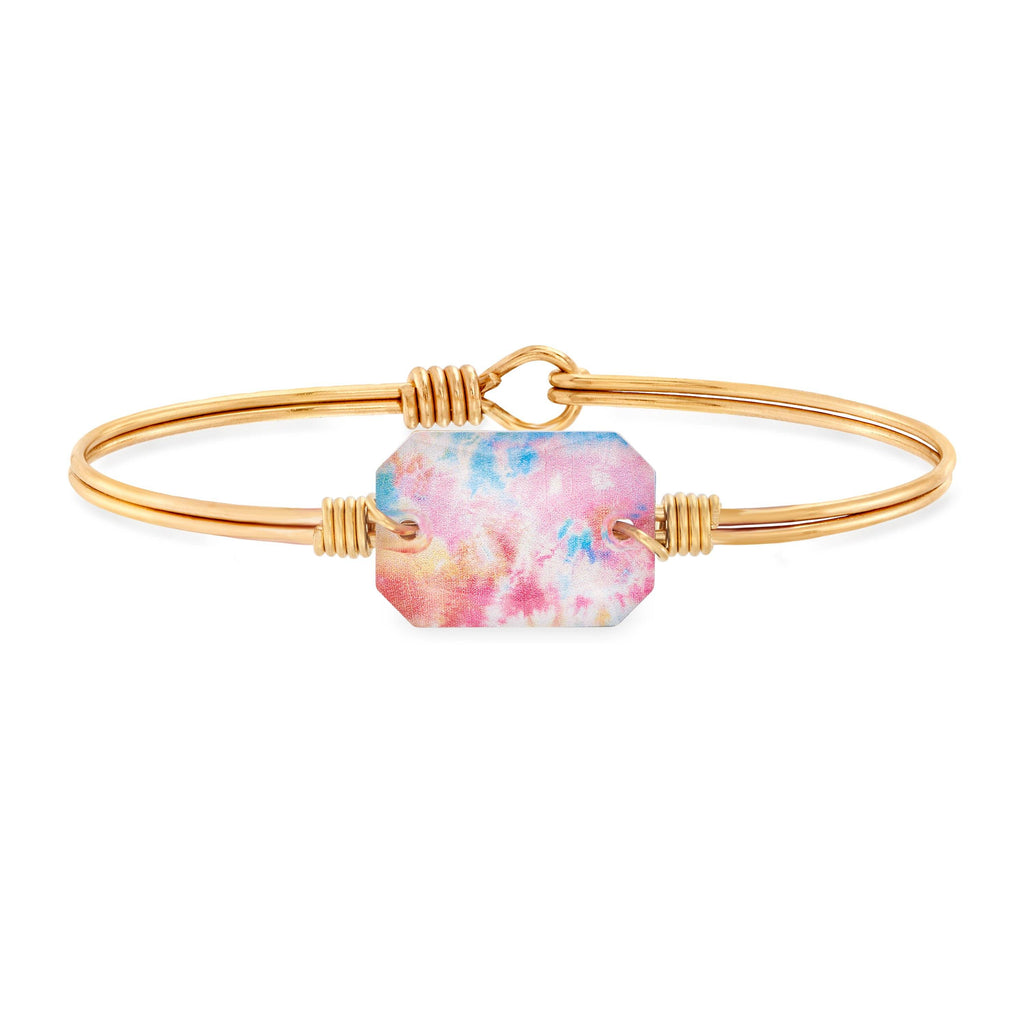 Dylan Bangle Bracelet in Tie Dye choose finish:Brass Tone