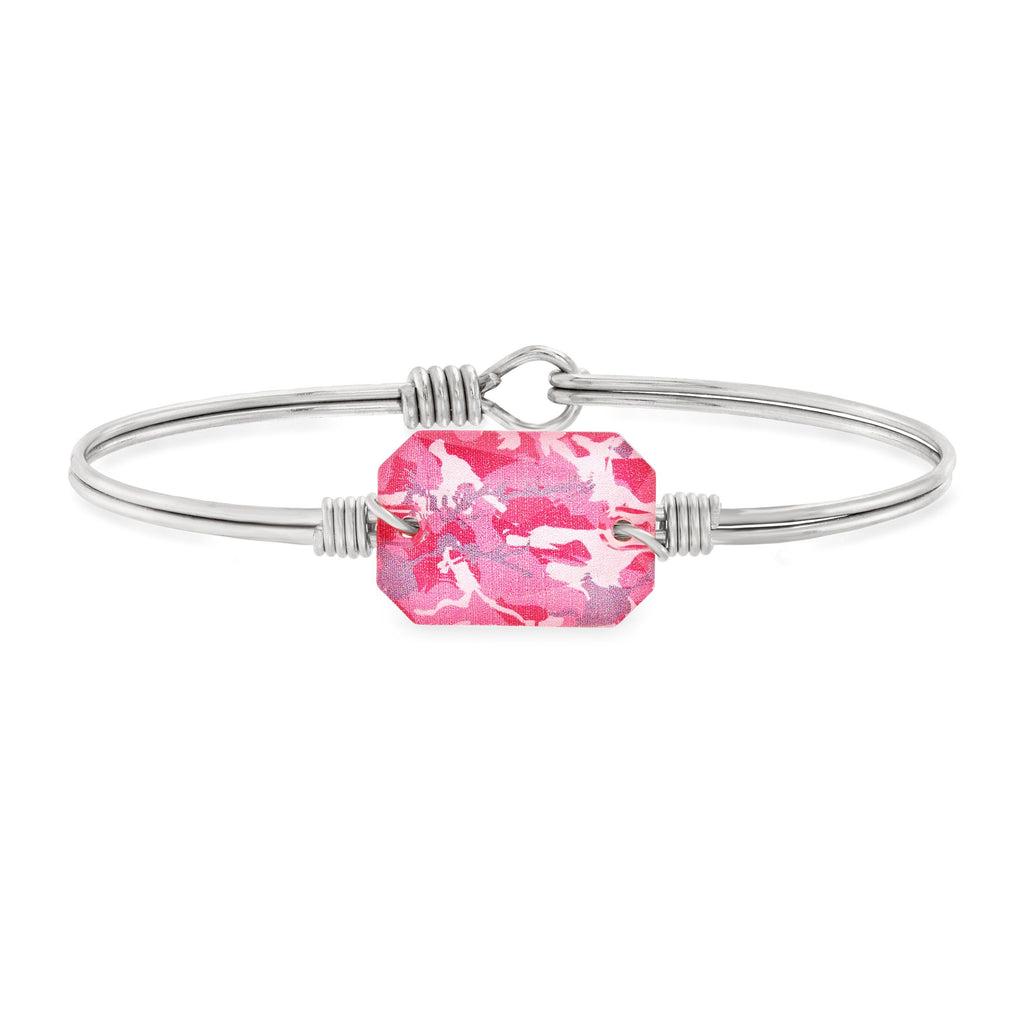 Dylan Bangle Bracelet in Pink Camo choose finish:Silver Tone