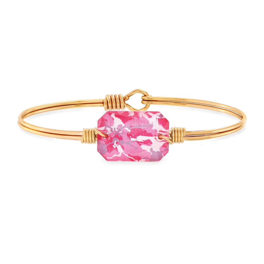 Dylan Bangle Bracelet in Pink Camo choose finish:Brass Tone