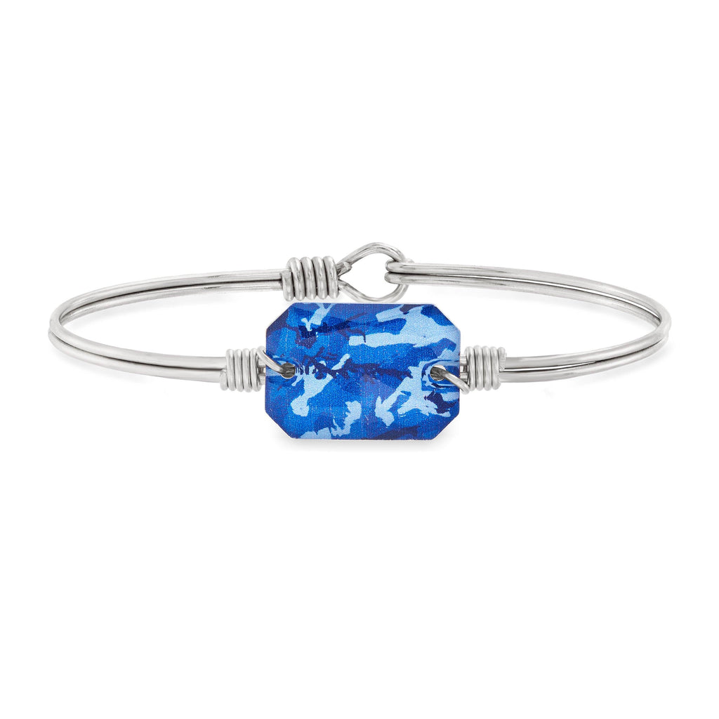 Dylan Bangle Bracelet in Blue Camo choose finish:Silver Tone