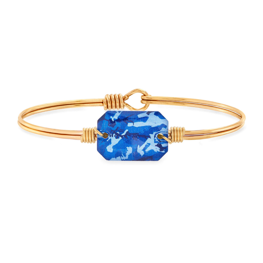 Dylan Bangle Bracelet in Blue Camo choose finish:Brass Tone