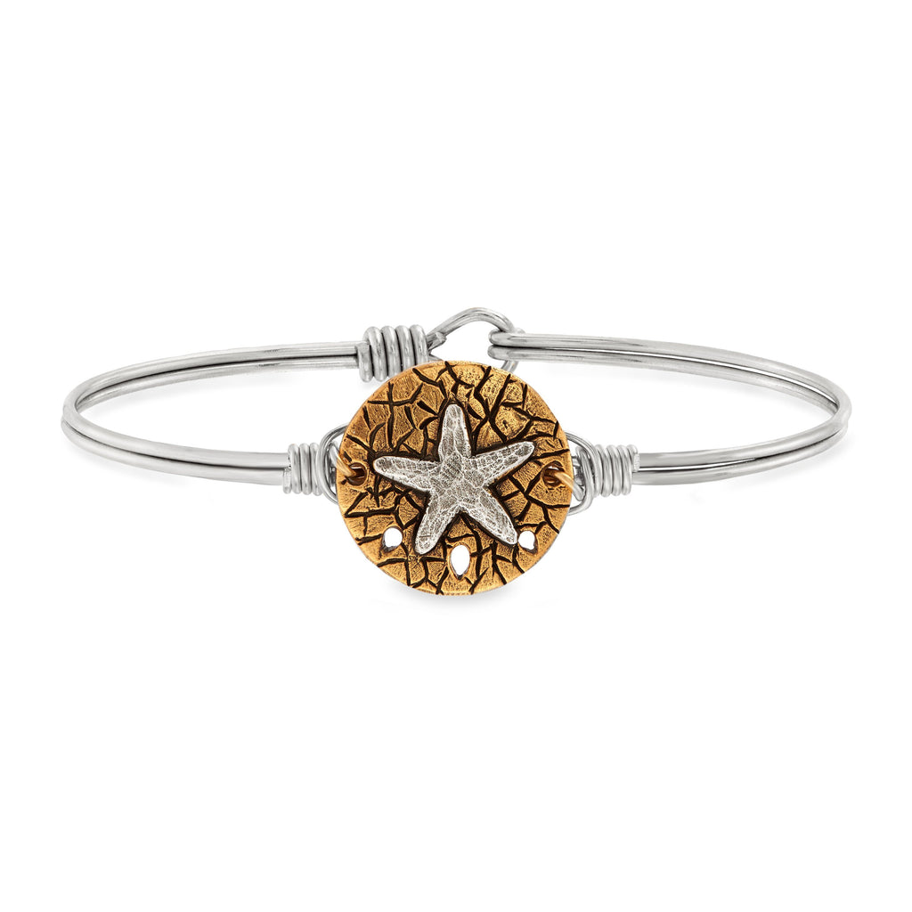 Two-tone Sand Dollar Bangle Bracelet choose finish:Silver Tone