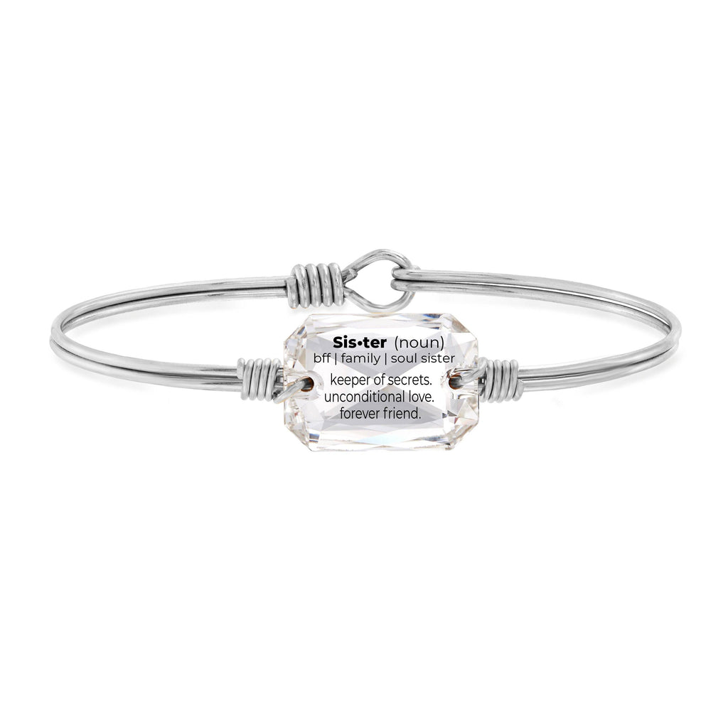 Sister Definition Bangle Bracelet in Crystal choose finish:Silver Tone
