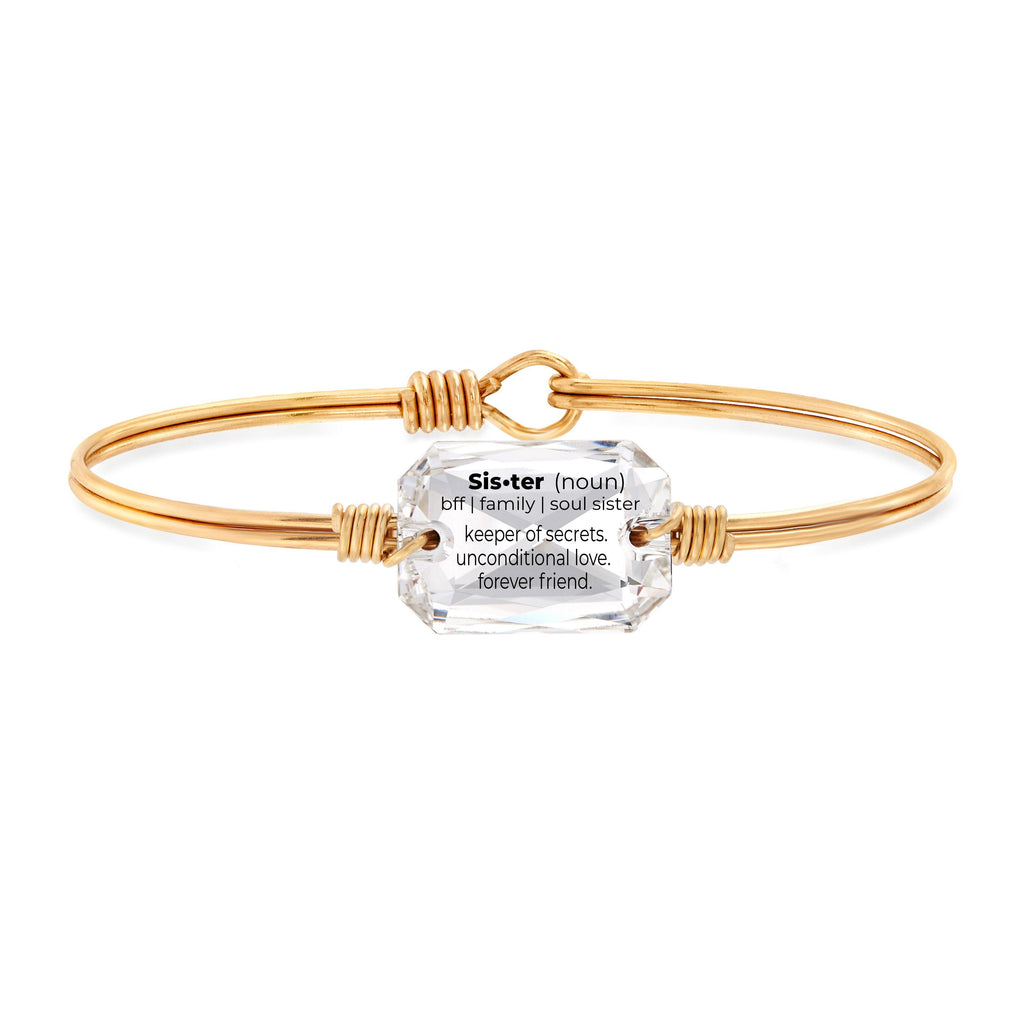 Sister Definition Bangle Bracelet in Crystal choose finish:Brass Tone