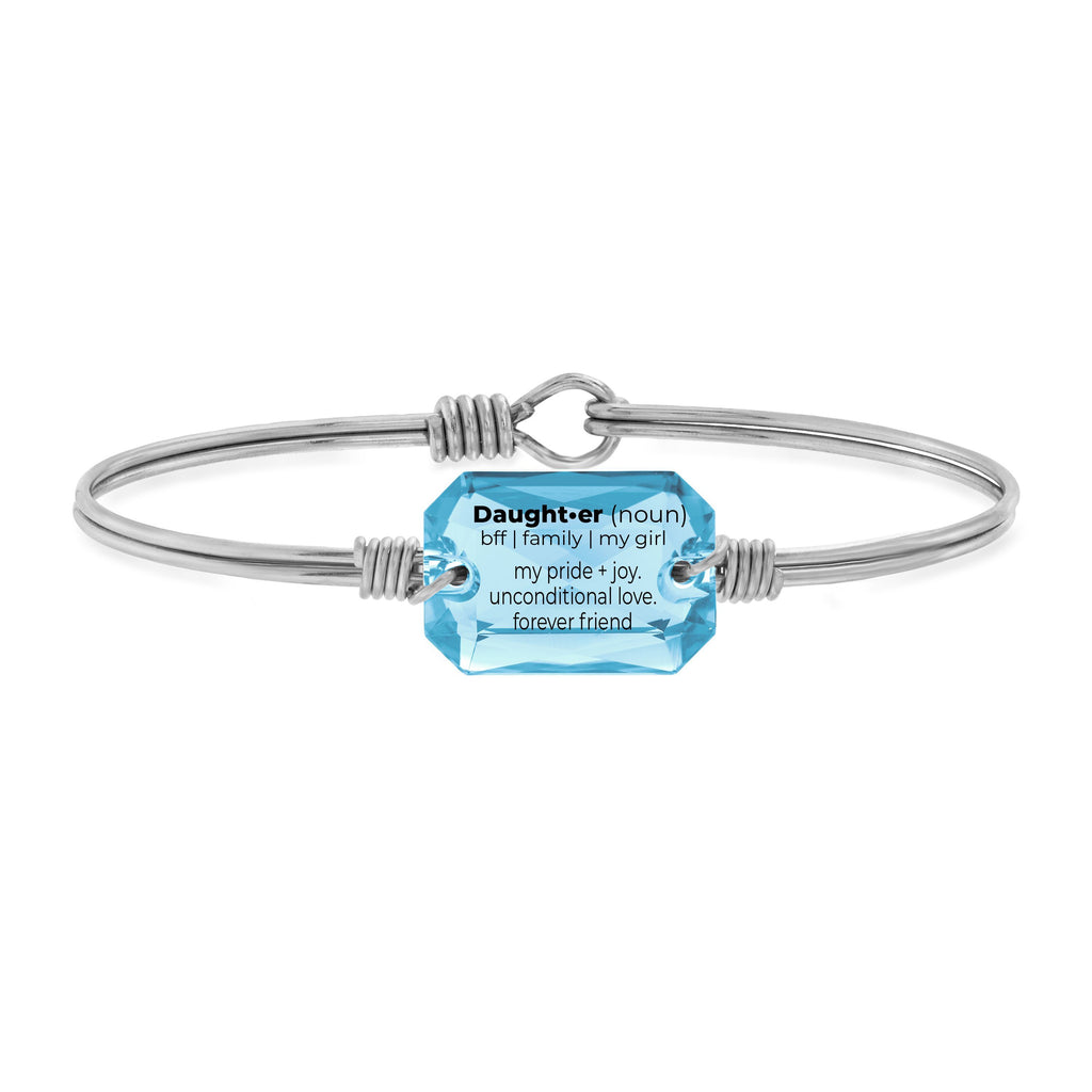 Daughter Definition Bangle Bracelet in Aquamarine choose finish:Silver Tone choose crystal color:Aquamarine