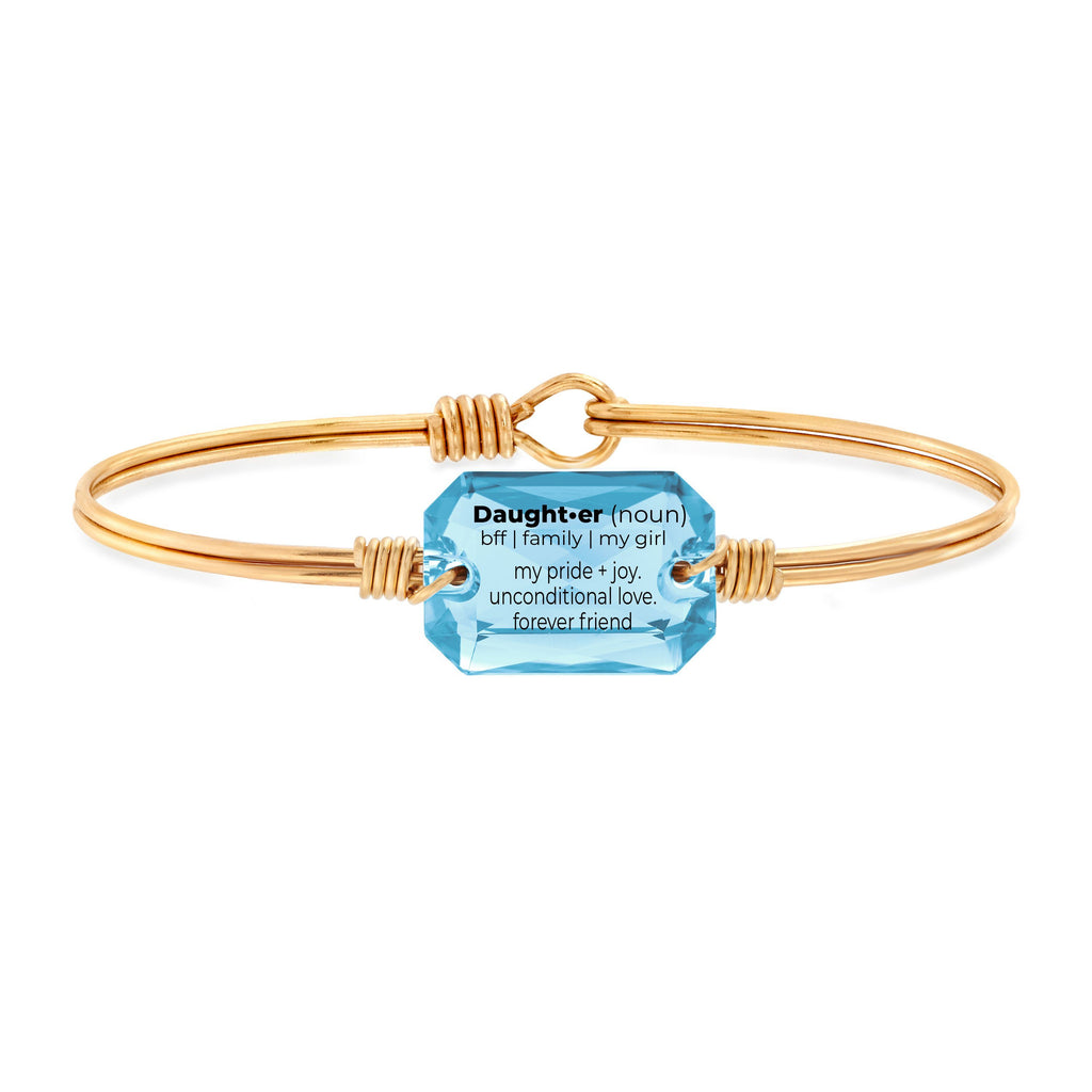 Daughter Definition Bangle Bracelet in Aquamarine choose finish:Brass Tone choose crystal color:Aquamarine
