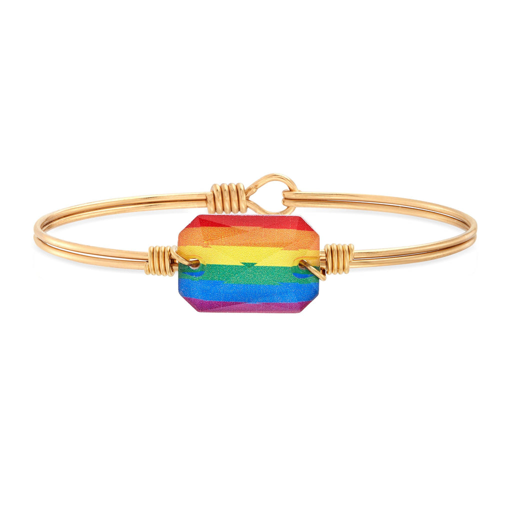 Dylan Bangle Bracelet in Rainbow choose finish:Brass Tone