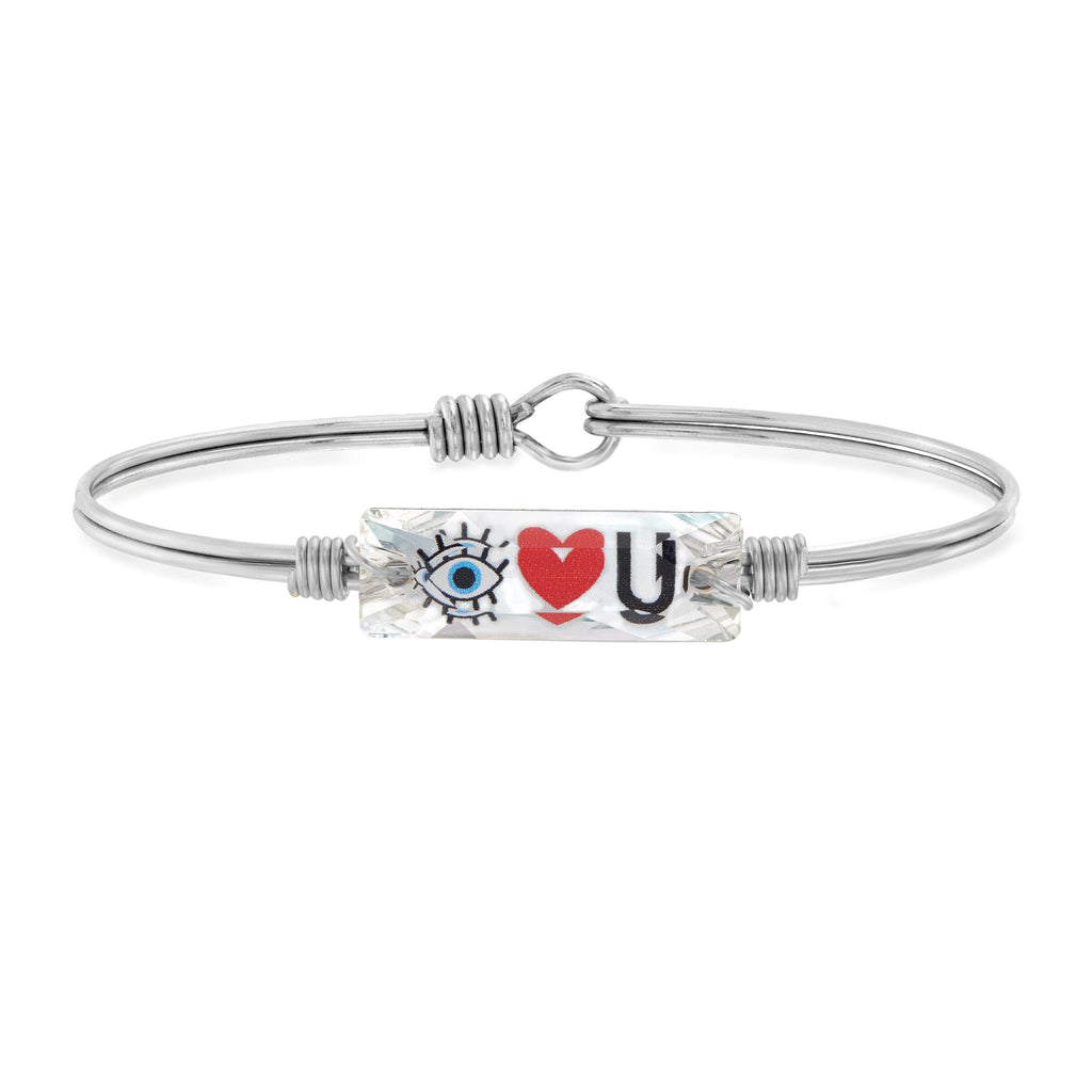Eye Love You Bangle Bracelet choose finish:Silver Tone