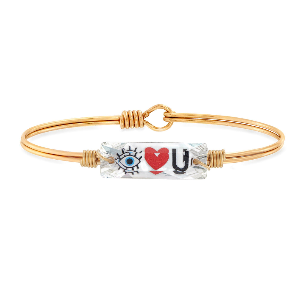 Eye Love You Bangle Bracelet choose finish:Brass Tone