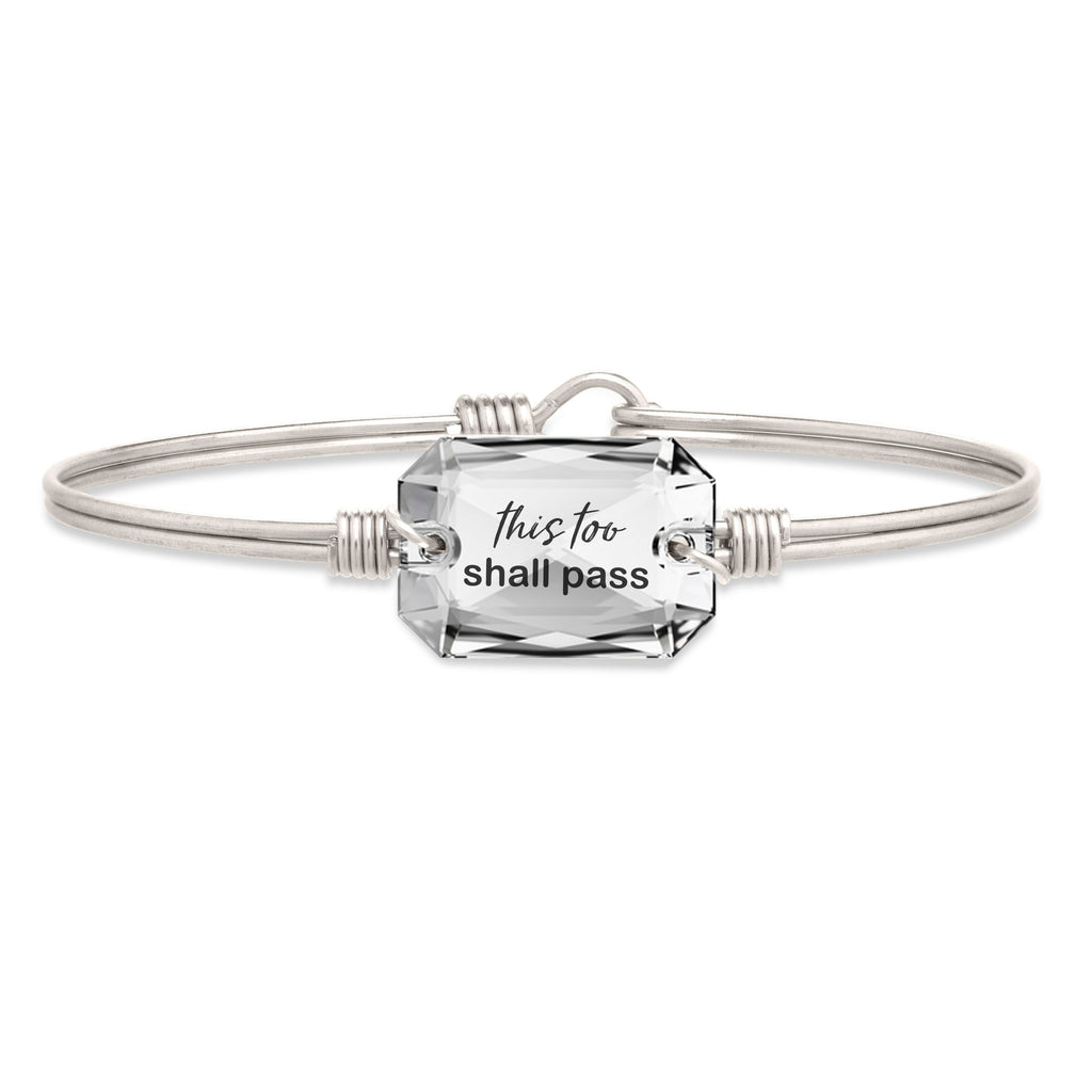 This Too Shall Pass Bangle Bracelet choose finish:Silver Tone