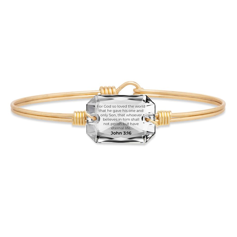 John 3:16 Bangle Bracelet choose finish:Brass Tone