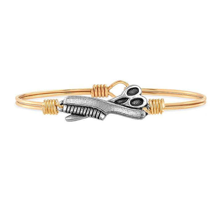 Hair Stylist Bangle Bracelet choose finish:Brass Tone