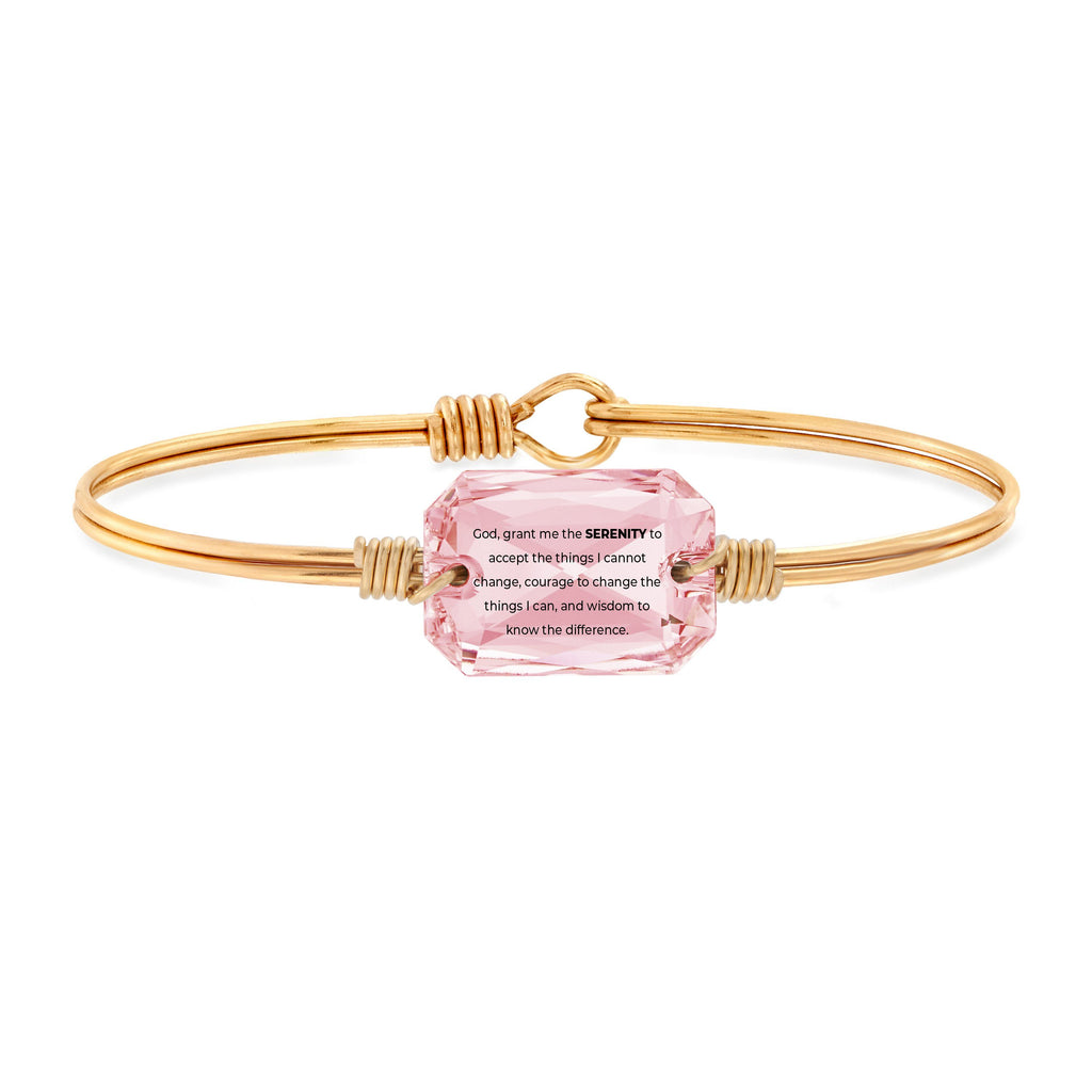 Serenity Prayer Bangle Bracelet in Vintage Rose choose finish:Brass Tone choose crystal color:Vintage Rose