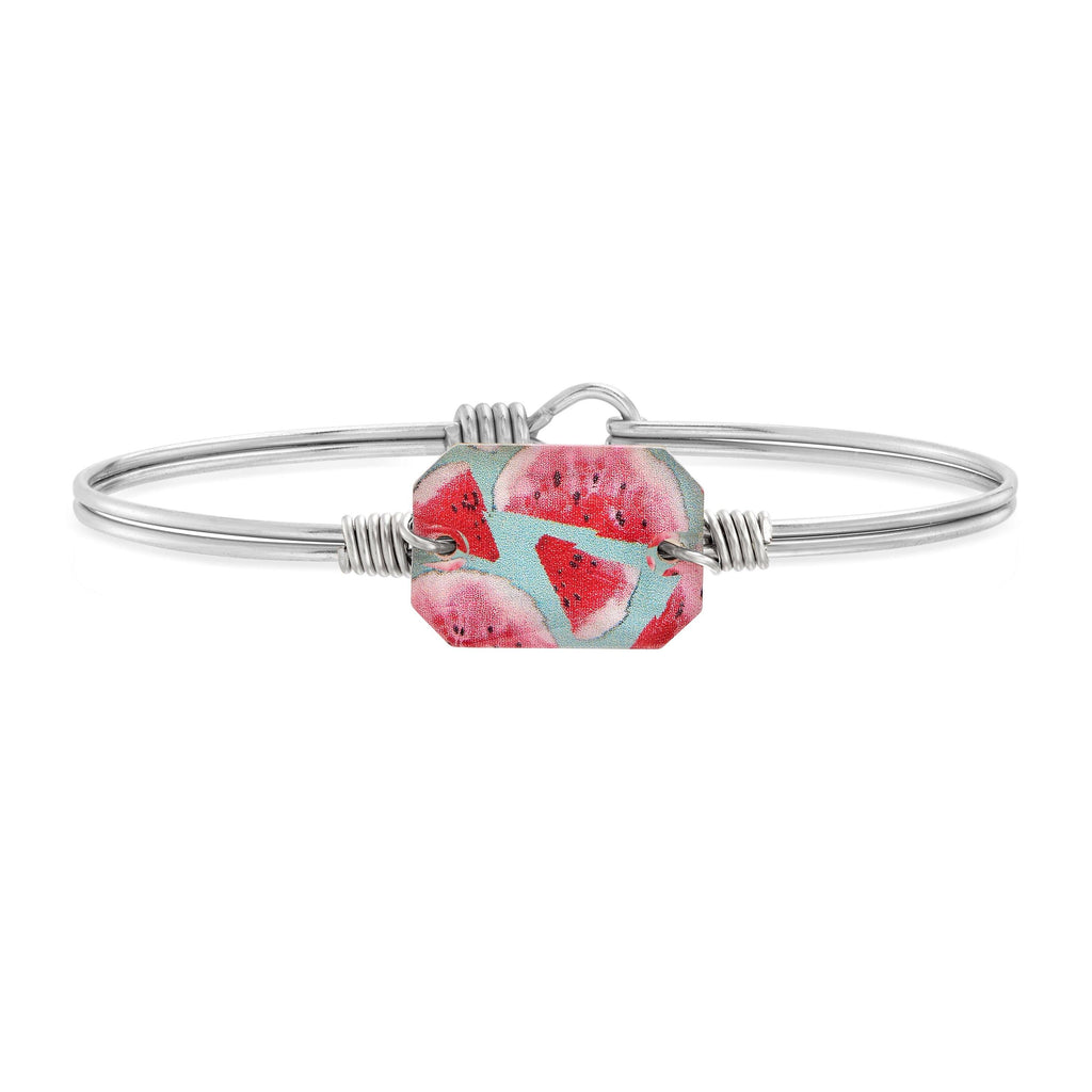 Dylan Bangle Bracelet in Watermelon choose finish:Silver Tone