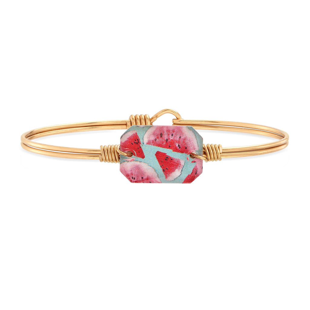 Dylan Bangle Bracelet in Watermelon choose finish:Brass Tone