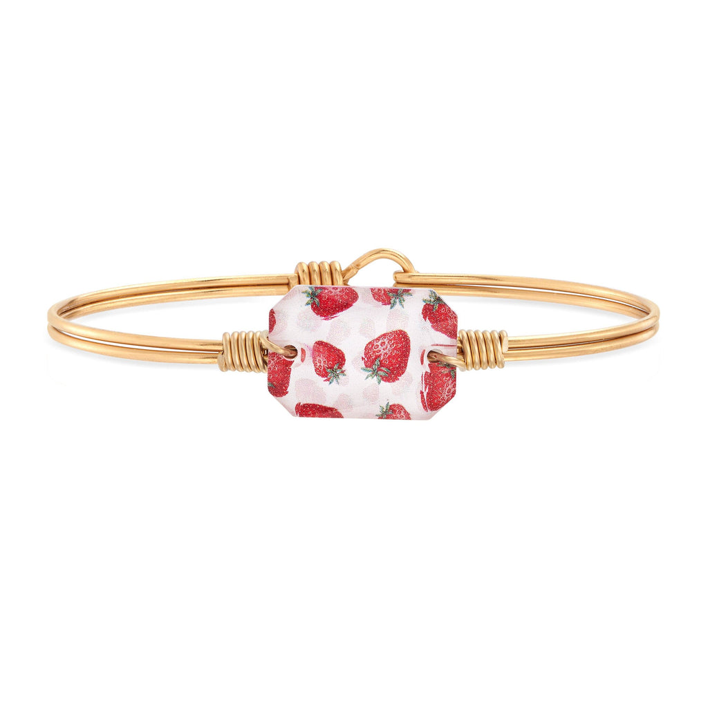Dylan Bangle Bracelet in Strawberry choose finish:Brass Tone