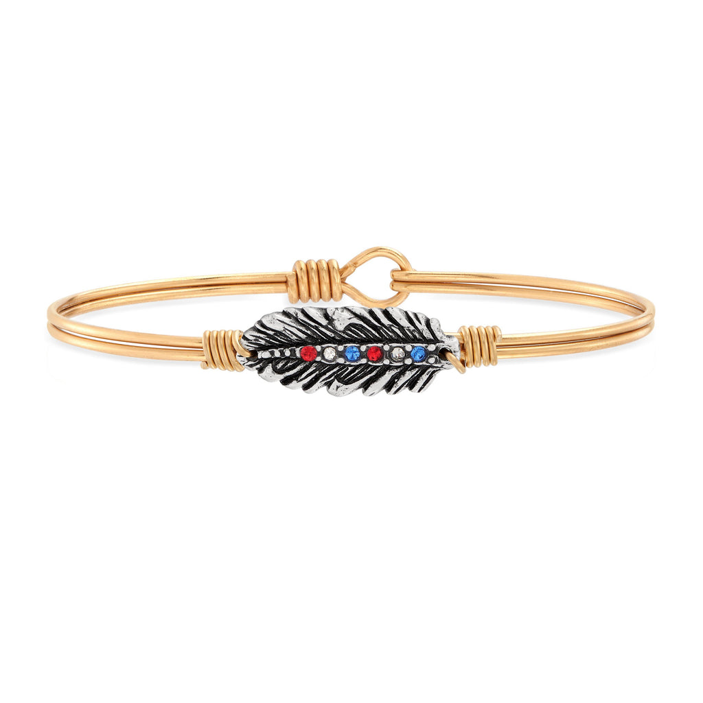Crystal Feather Bangle Bracelet in Americana choose finish:Brass Tone