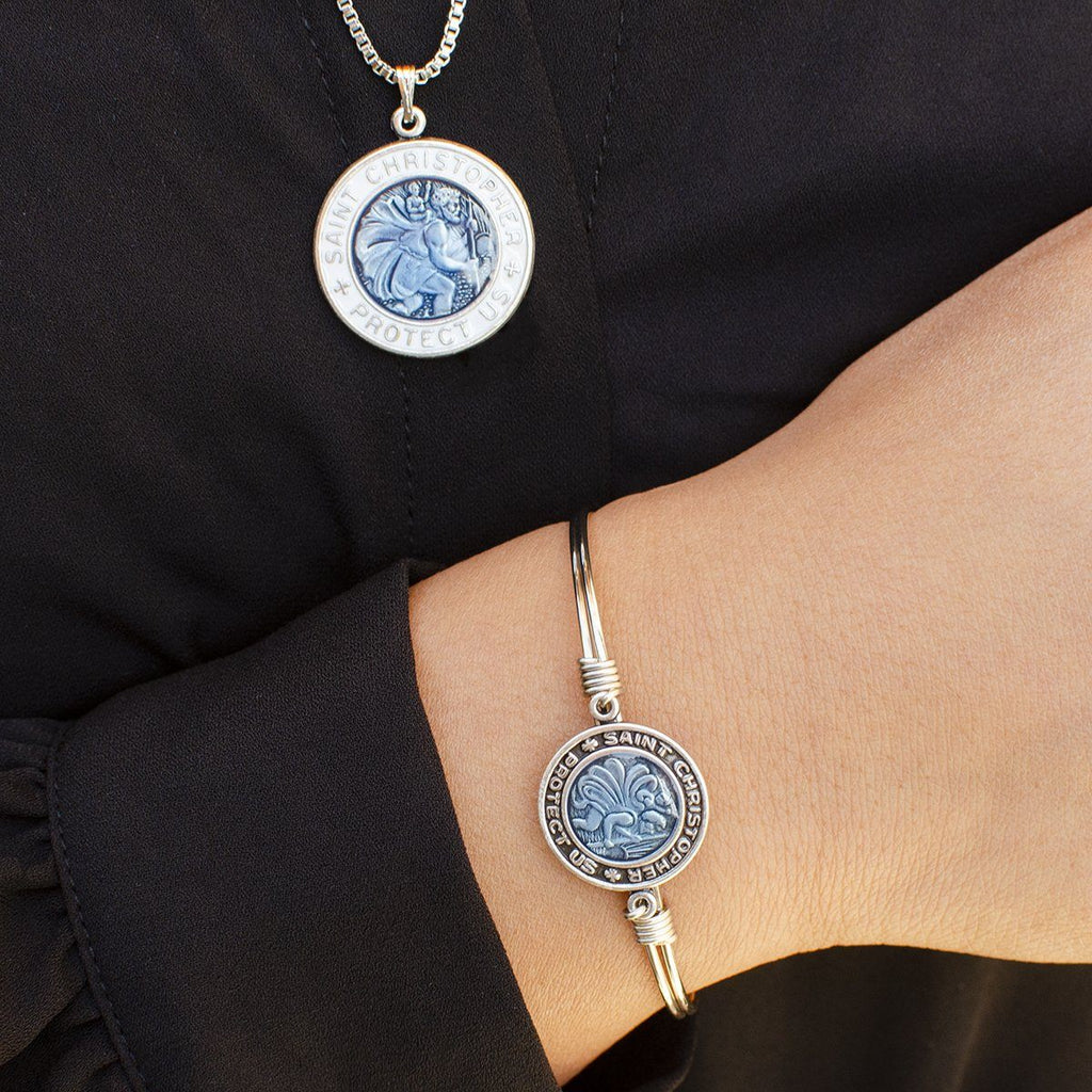 Saint Christopher Bangle + Necklace Set choose finish: