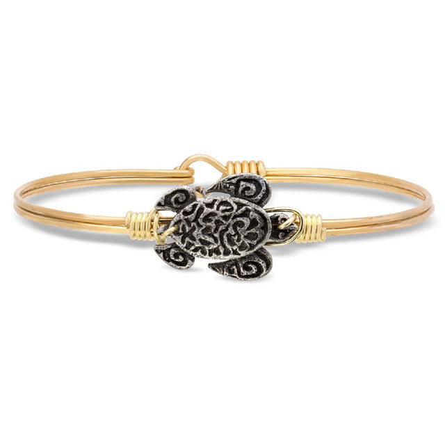 Sea Turtle Bangle Bracelet-Bangle Bracelet-Regular-finish:Brass Tone-Luca + Danni