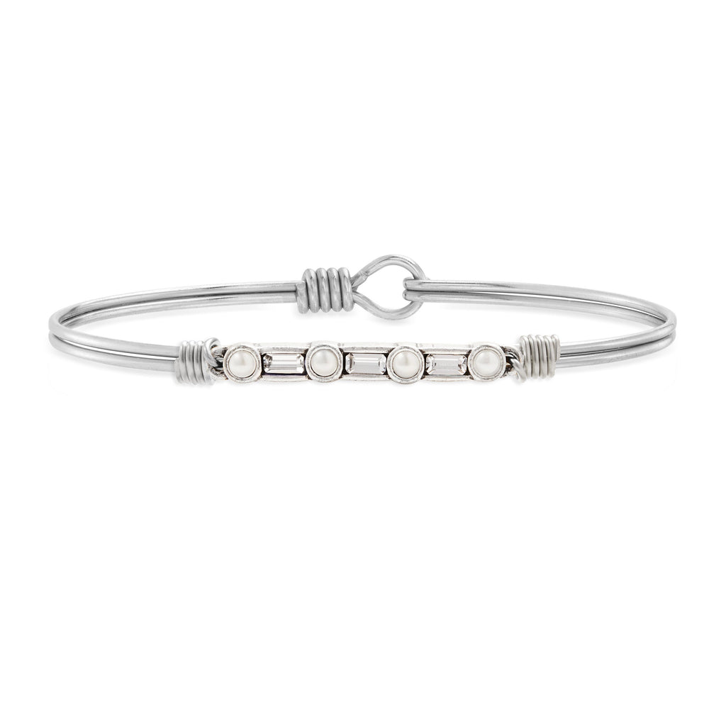 Rio Bangle Bracelet in Crystal choose finish:Silver Tone