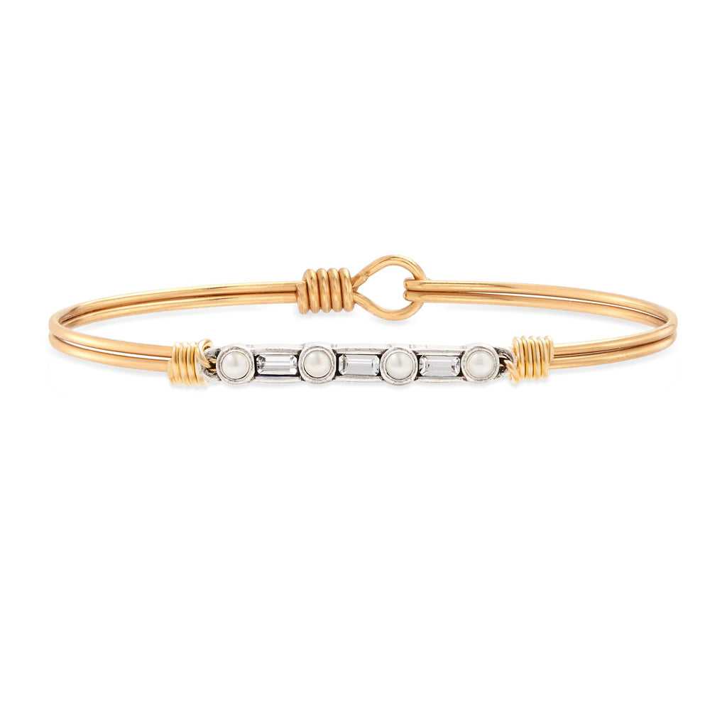 Rio Bangle Bracelet in Crystal choose finish:Brass Tone