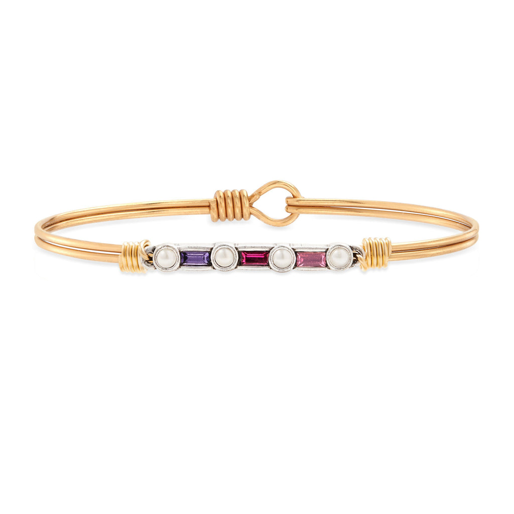 Rio Bangle Bracelet in Pink Ombre choose finish:Brass Tone