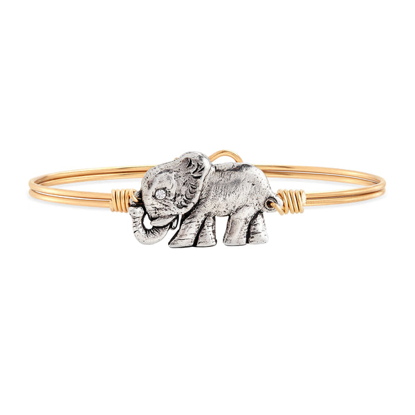Lovely Land Elephant Crystal Bangle Bracelet in The Popular Style Good Luck Charm