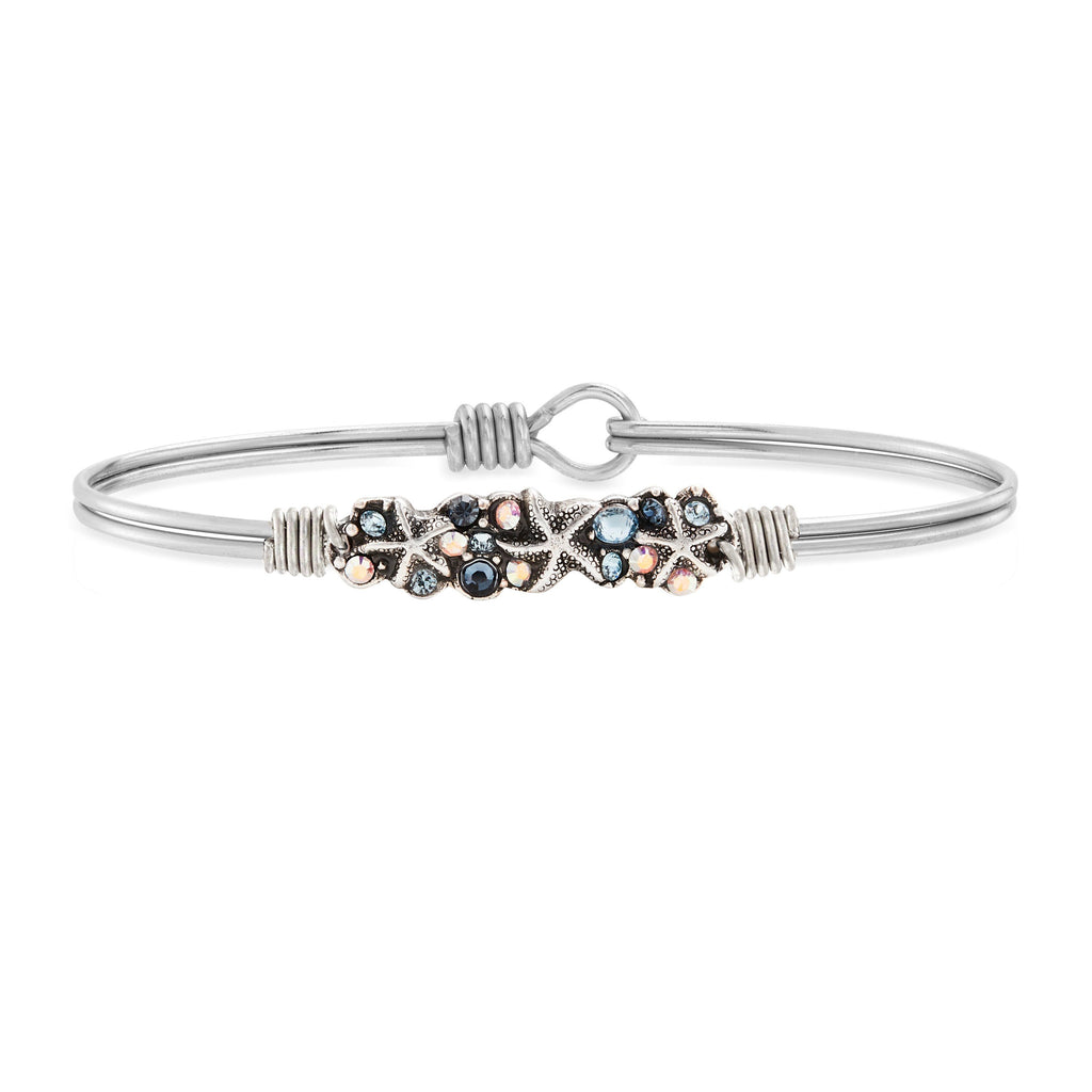 Starfish Medley Bangle Bracelet choose finish:Silver Tone