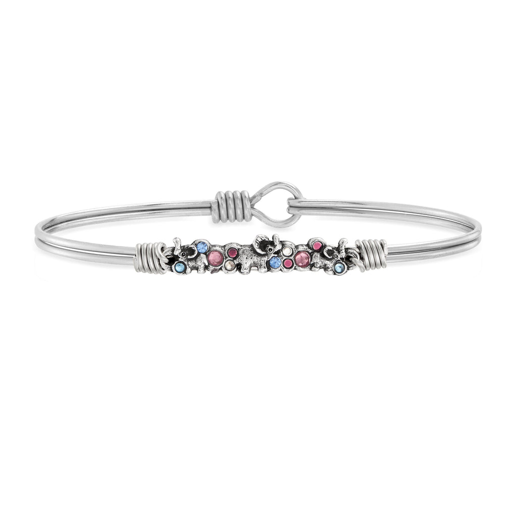 Elephant Medley Bangle Bracelet choose finish:Silver Tone