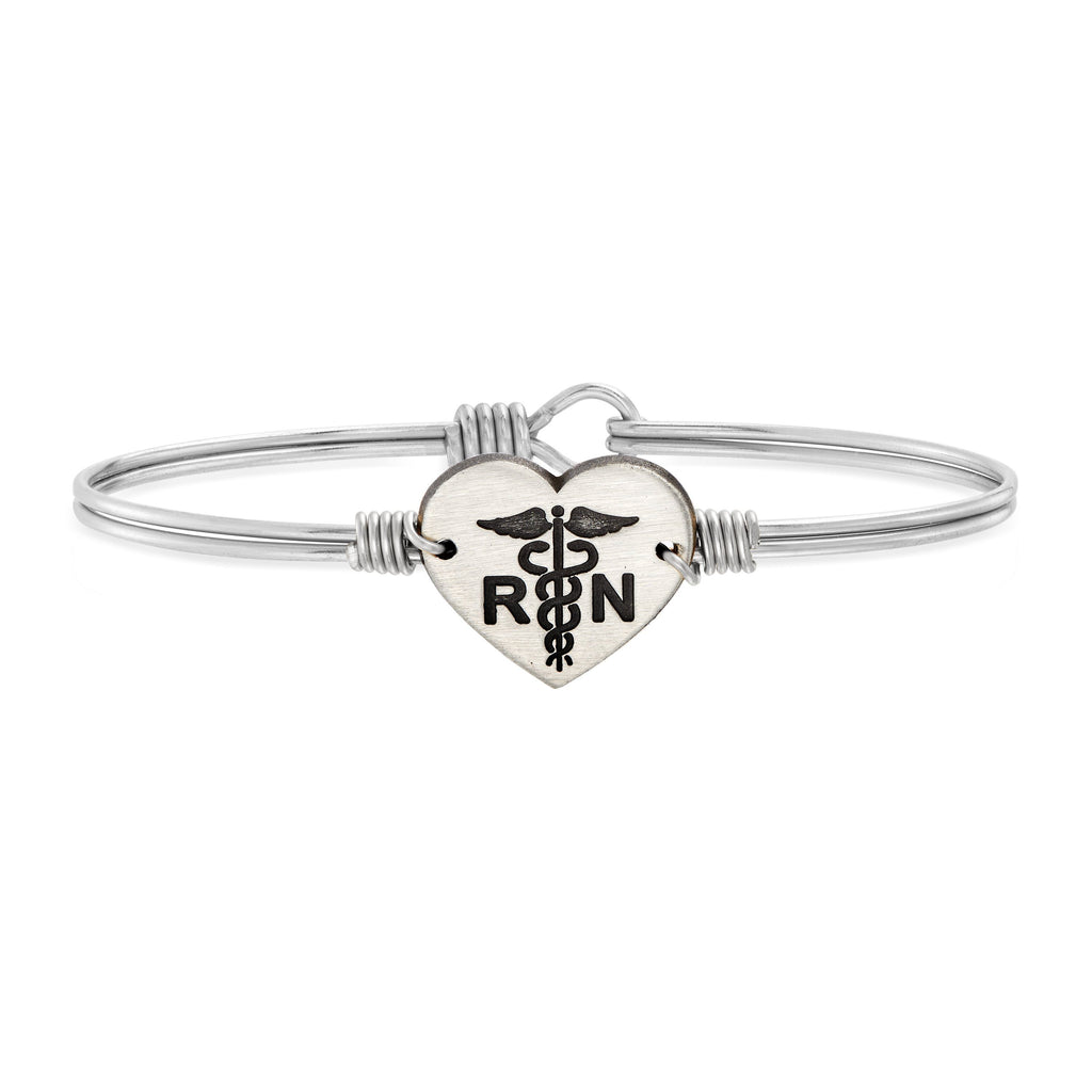 Nurse Bangle Bracelet choose finish:Silver Tone