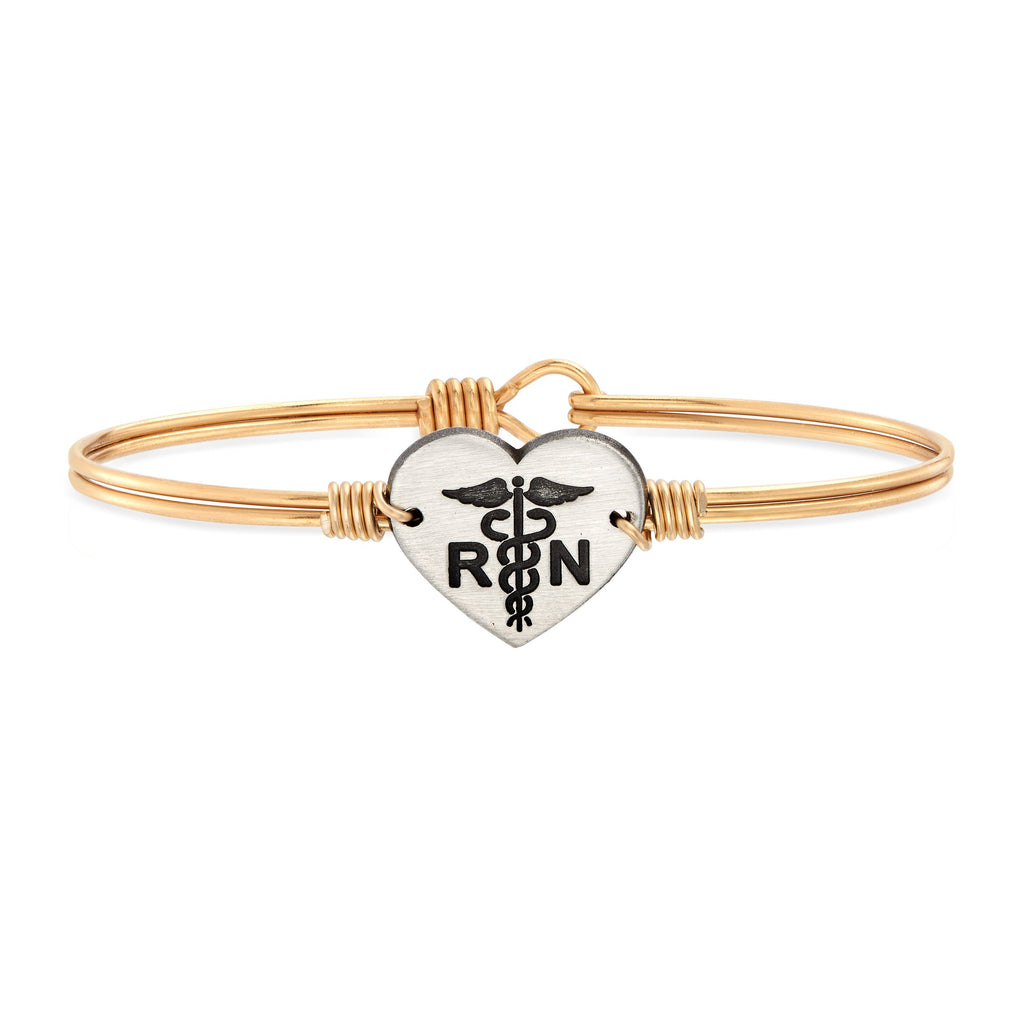 Nurse Bangle Bracelet choose finish:Brass Tone