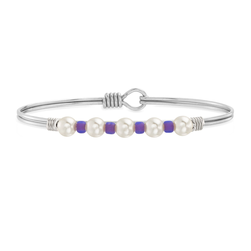 Crystal Pearl with Purple Seed Bead Bangle Bracelet choose finish:Silver Tone