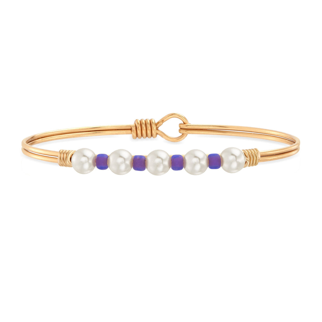 Crystal Pearl with Purple Seed Bead Bangle Bracelet choose finish:Brass Tone