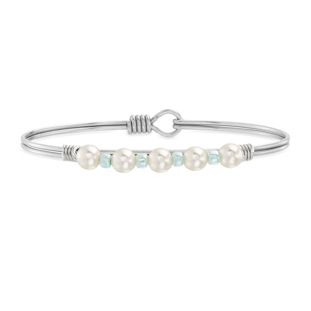 Crystal Pearl with Pastel Blue Seed Bead Bangle Bracelet choose finish:Silver Tone