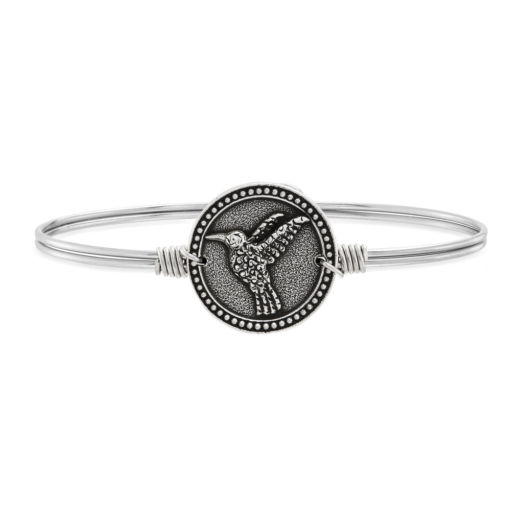 Hummingbird Bangle Bracelet choose finish:Silver Tone