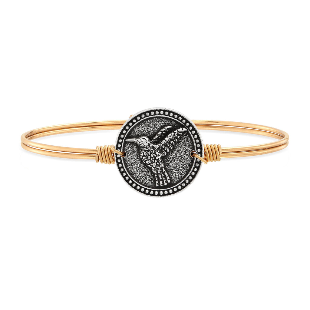 Hummingbird Bangle Bracelet choose finish:Brass Tone