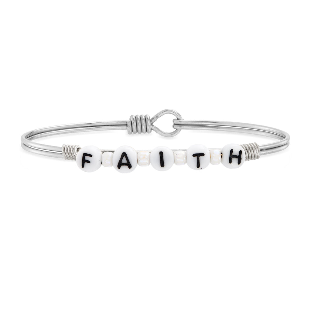 Faith Letter Bead Bangle Bracelet choose finish:Silver Tone