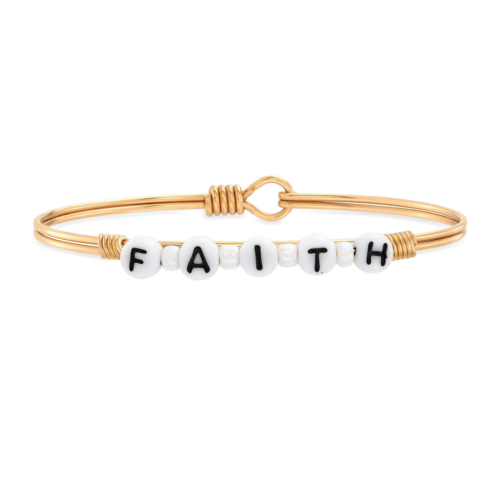 Faith Letter Bead Bangle Bracelet choose finish:Brass Tone