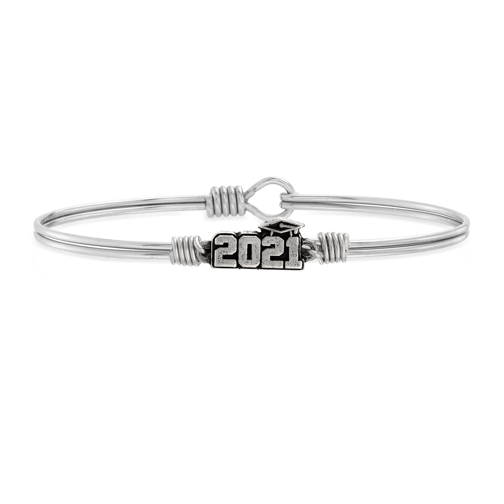 2021 Graduation Bangle Bracelet choose finish:Silver Tone