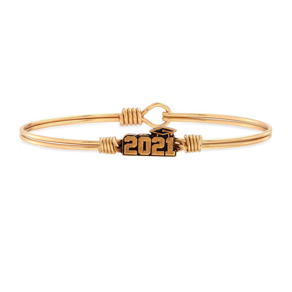 2021 Graduation Bangle Bracelet choose finish:Brass Tone