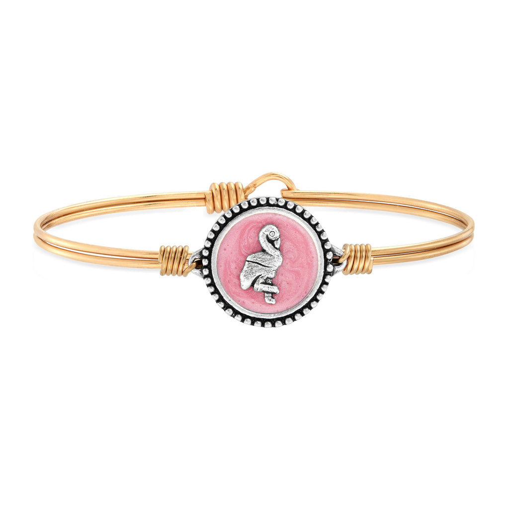 Pink Flamingo Bangle Bracelet choose finish:Brass Tone