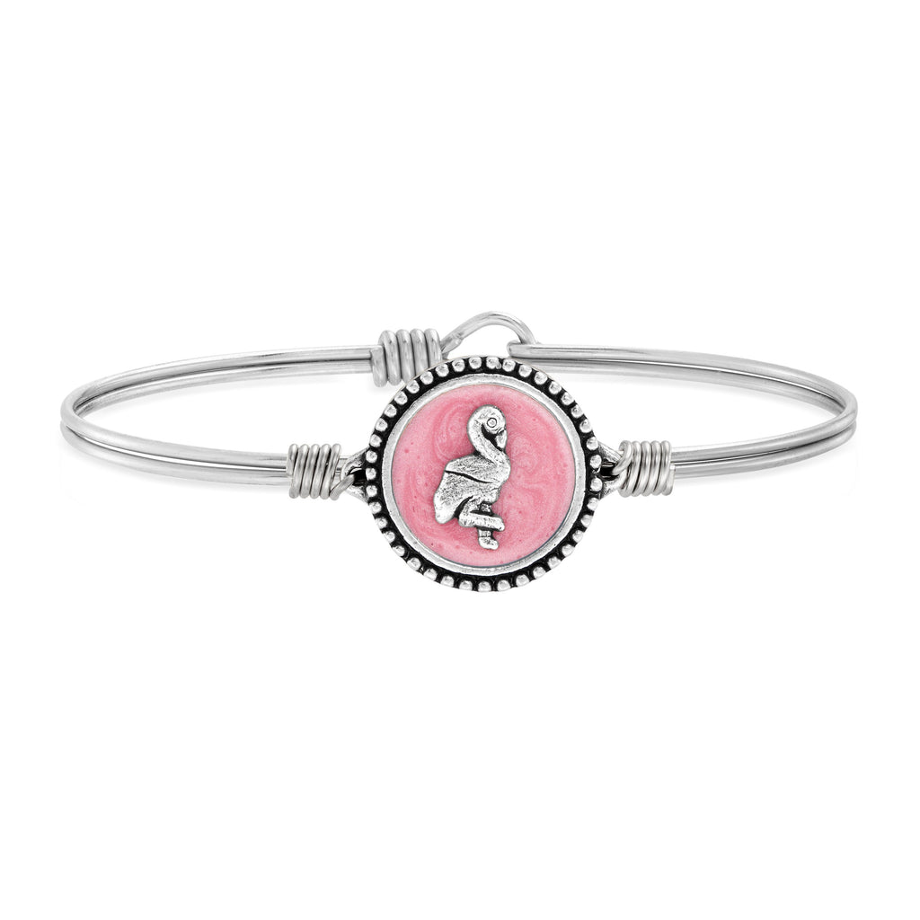 Pink Flamingo Bangle Bracelet choose finish:Silver Tone